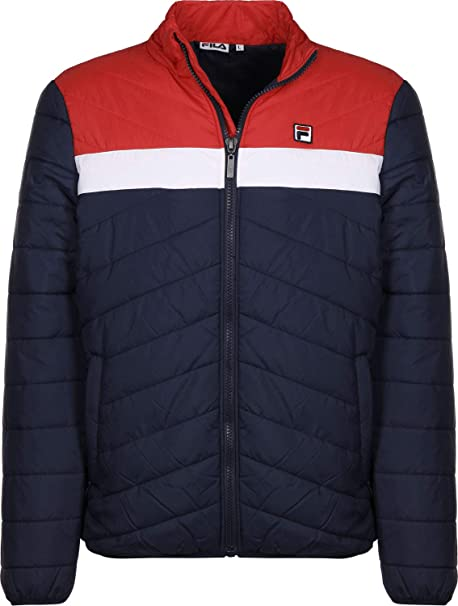 Fila Piselli Chaqueta de Plumas Black Iris/White/Red: Amazon ...