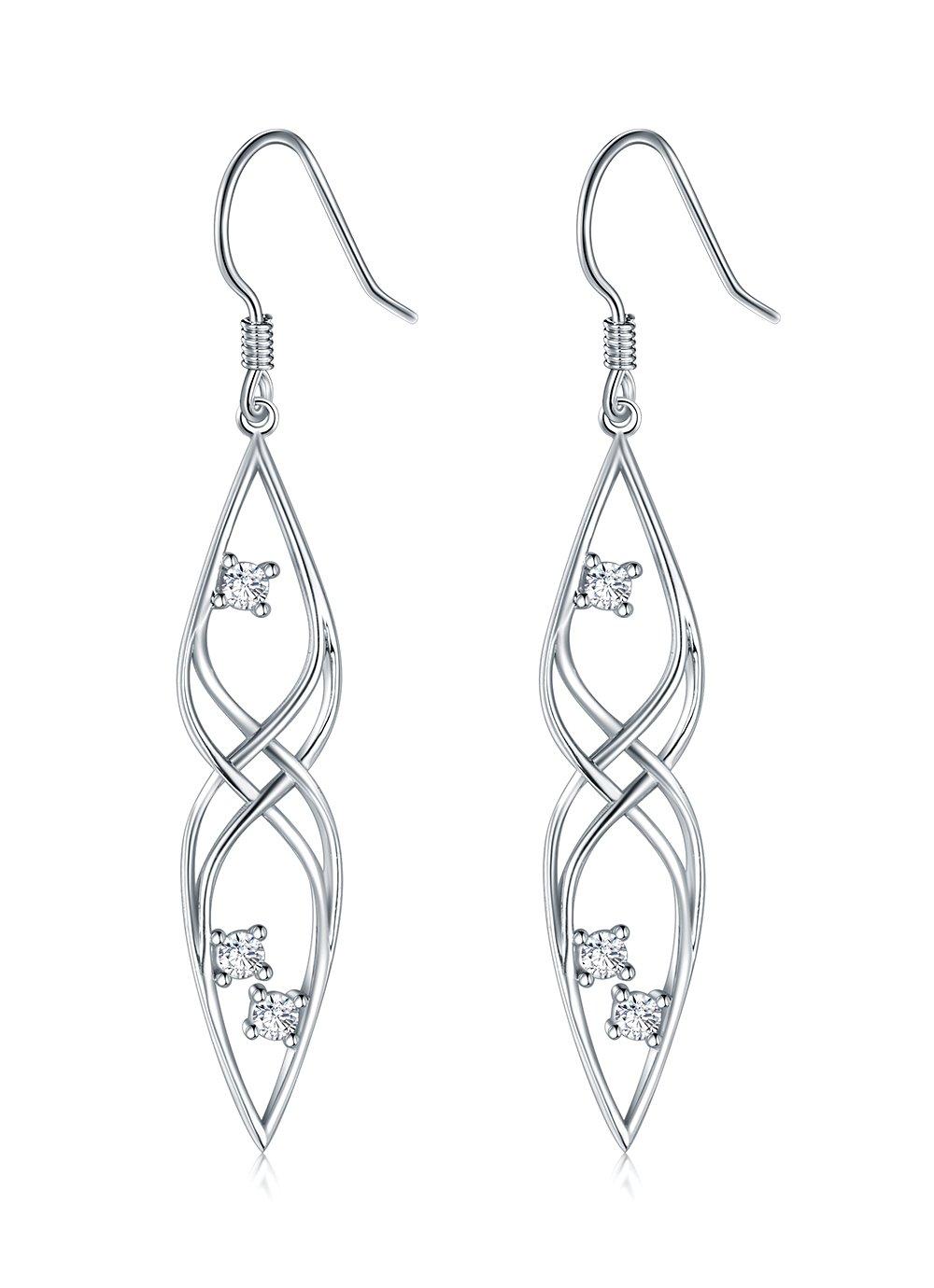 925 Sterling Silver Earrings, BoRuo Filigree Tear Drop Celtic Knot Vintage Dangles