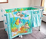 NAUGHTYBOSS Baby Bedding Set Cotton 3D Embroidery Stereoscopic Ocean World Fish Hippocampus Quilt Bumper Bedskirt Fitted Urine Bag 8 Pieces Blue