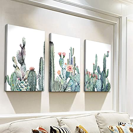 Canvas Wall Art for bedroom living room Canvas Prints Artwork bathroom Wall Decor Green plants Succulent cactus flower painting 12 x 16 3 Pieces modern Framed Ready to hang Office Home Decorations