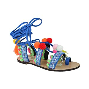 Chase & Chloe EF71 Women's Leg Wrap Tassel Pom-Pom Beads Flat Sandals, Color:BLUE, Size:6