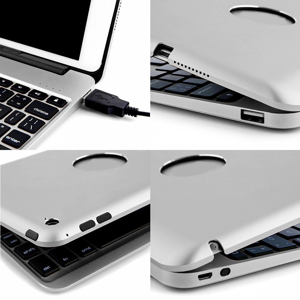 PinPle iPad Pro 12.9 Keyboard Bluetooth with 7 Colors LED Backlit Slim Aluminum Wireless Keyboard with Clamshell Protective Case & Free Tempered Glass Screen Protector (Silver) by PinPle (Image #4)