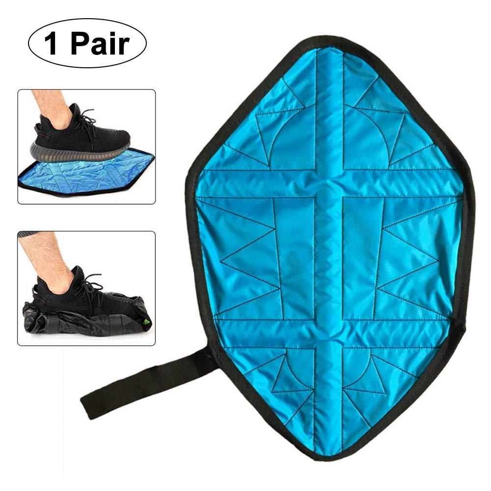 Aolvo Upgraded 2//Paar FREIH/ÄNDIGER Boot-Schuh, Schritt in Socke Automatische /Überschuhe Wasserfest und Wiederverwendbar Schuh abdeckt, mit Gurt, Lazy f/ür Sneaker und Stiefel Blau