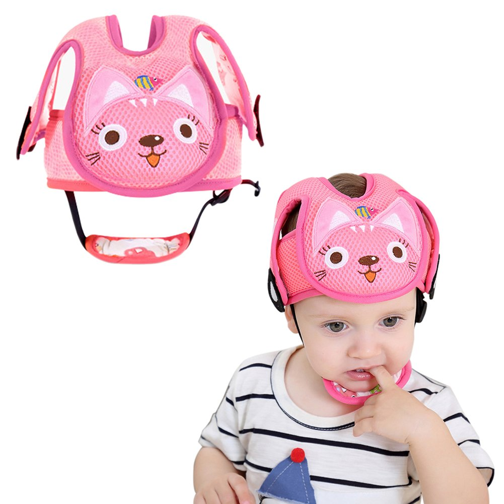 Per Baby Head Protector Helmet Lovely Cat& Dog Car Shape Safety Head Guard Cushion With Adjustable Straps And Chin Pad Protection Cap Harnesses Hat For Infant Toddlers Learn to Walk and Sit-Pink Cat