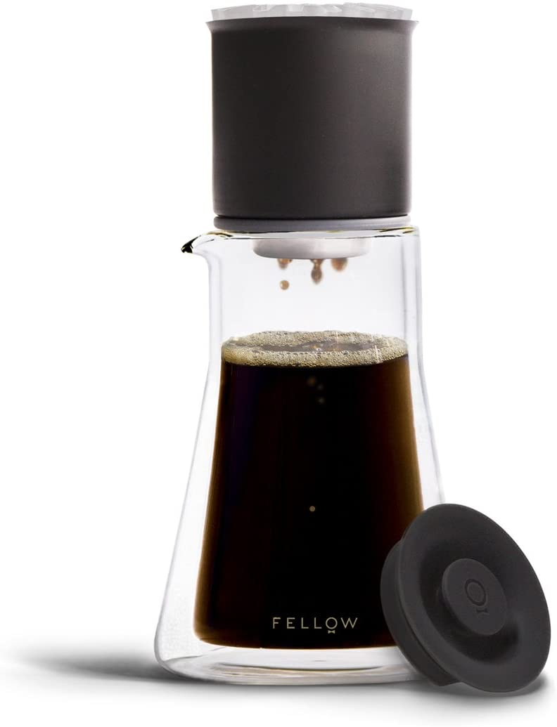 Fellow Stagg XF Pour-Over Brewing Set for Coffee includes Stagg XF Pour-Over Dripper with Ratio Aid, Stagg Double Wall Glass Carafe, and 20 paper filters