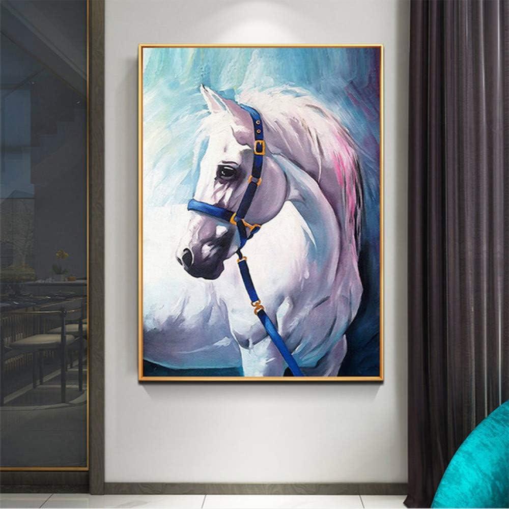 Caballo cartel animal azul lienzo pintura pared arte sala moderna decoración imagen A 20x30cm