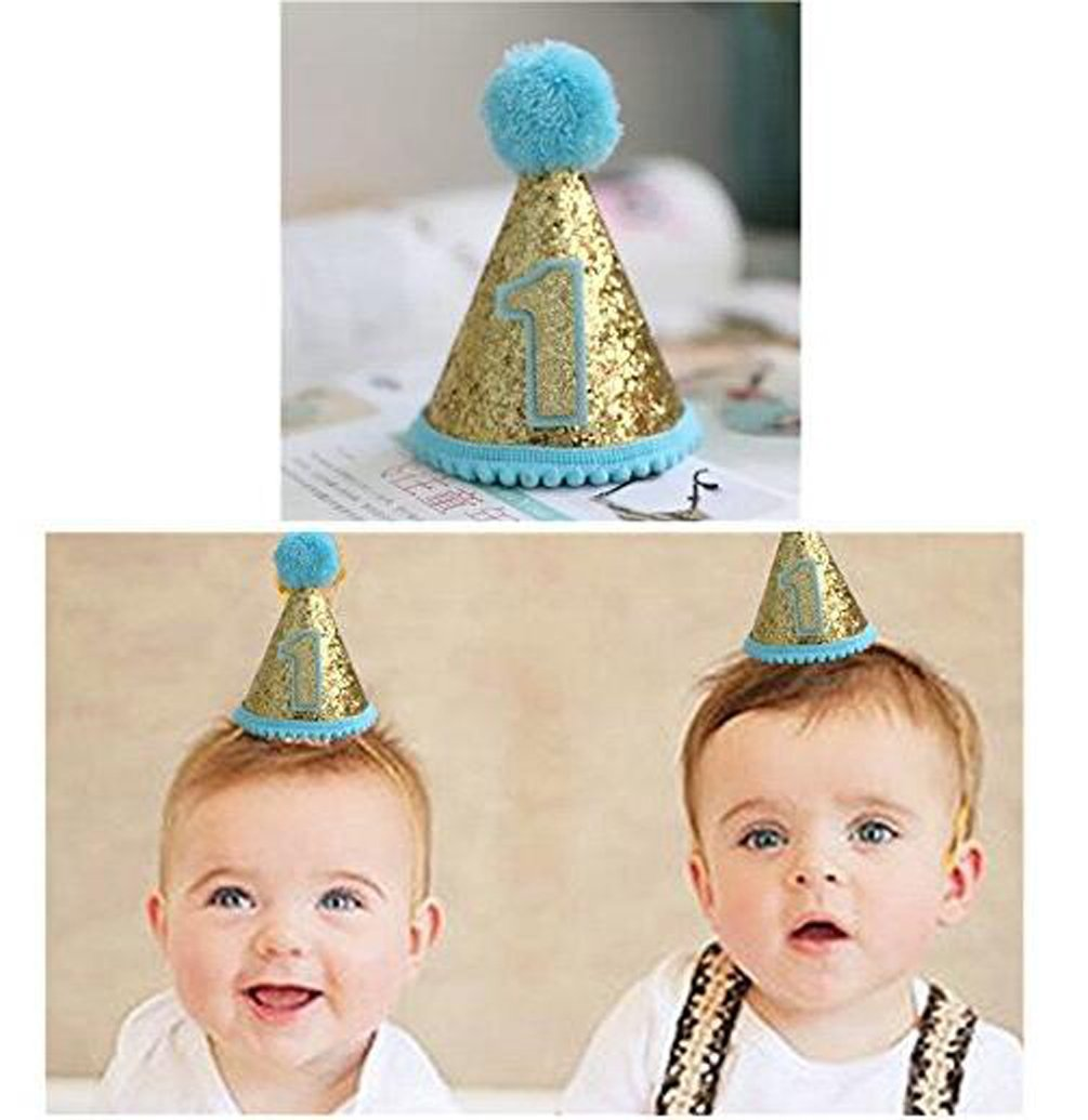 Baby Boys Birthday Hat Shower First Party Glitter Hats Love