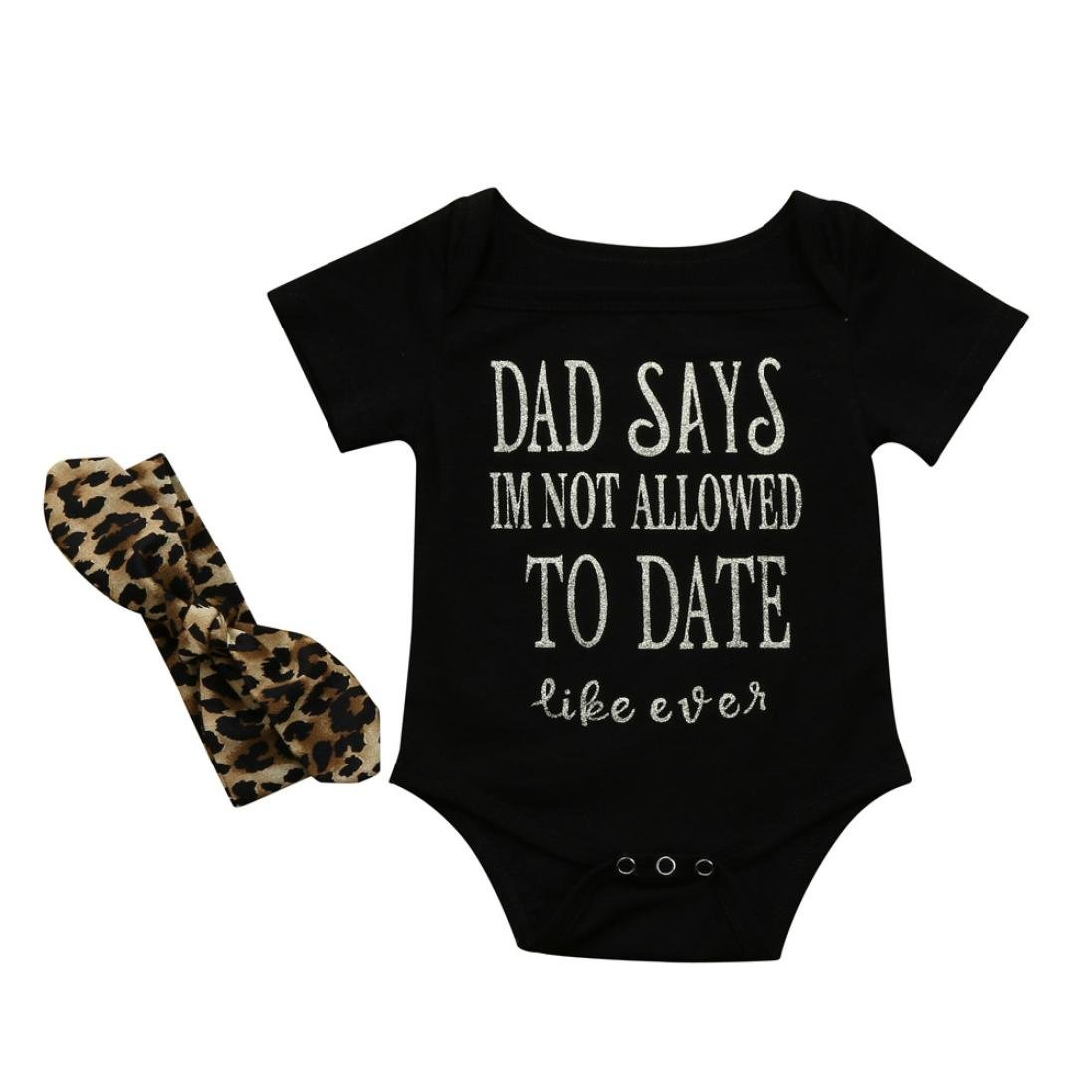 Letter Print Bodysuit With Leopard Headband Layette 0-18 Months Infant Wear Spring//Summer Memela Baby Girls Clothes