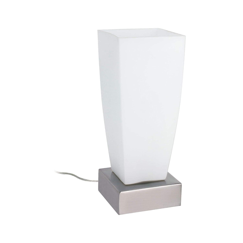 Paulmann 77037 Jenni - Lámpara de mesa de metal y cristal (E14, máx. 40 W, 230 V), color níquel satinado y ópalo: Amazon.es: Iluminación