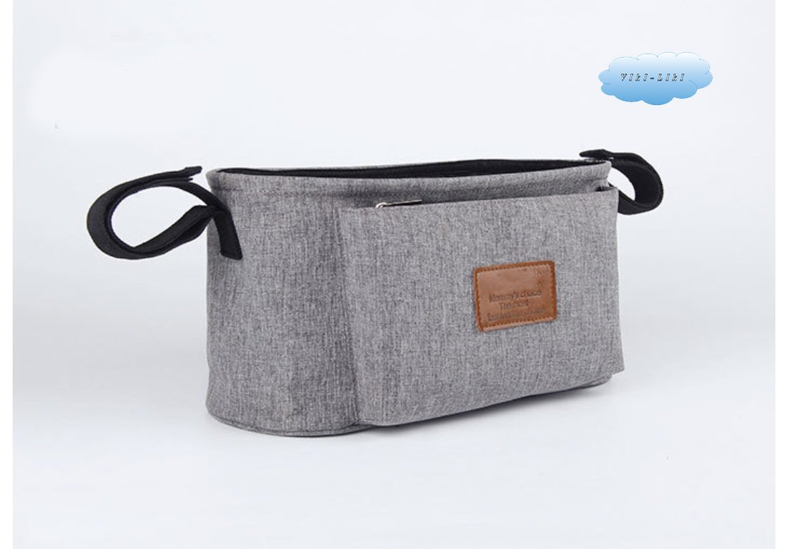 Stroller Organizer for Smart Moms, Premium Deep Cup Holders, Extra Storage Space for iPhones, Wallets, Diapers, Toys, The Perfect Baby Shower Gift (Grey)