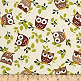 Tossed Owls Khaki/Wine/Sage Fabric By The Yard