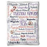 Have Faith Boutique Personalized Baby Blanket with Name- 30''x40''- Velveteen Fleece - Magnolia Flower