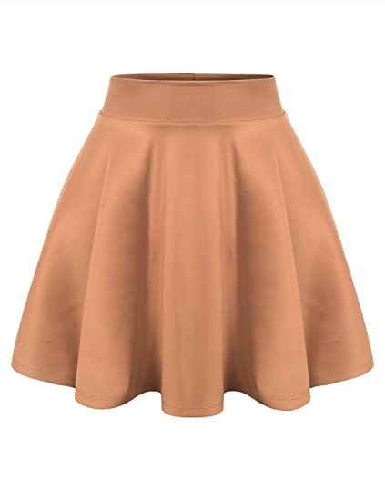 URBANCLEO Womens Solid Versatile Stretchy Flared Skater Skirt Khaki Medium  at Amazon Women s Clothing store  db98fd48c