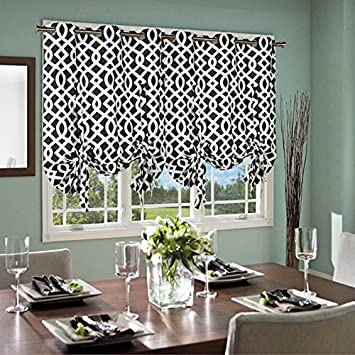 Thermalogic Trellis Cotton Curtains, Tie Up Panel, 40u0026quot; X 63u0026quot;, ...
