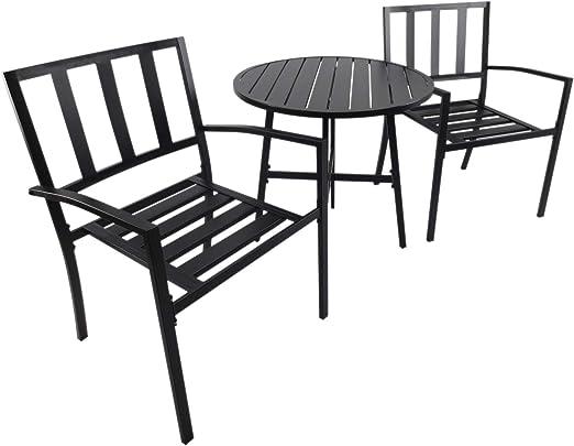 Outsunny Conjuntos de Mesa y 2 Sillas de Jardín Muebles Comedor Exterior Bistro Café Set Jardín Terraza Sillón Ancho y Cómodo Acero: Amazon.es: Jardín
