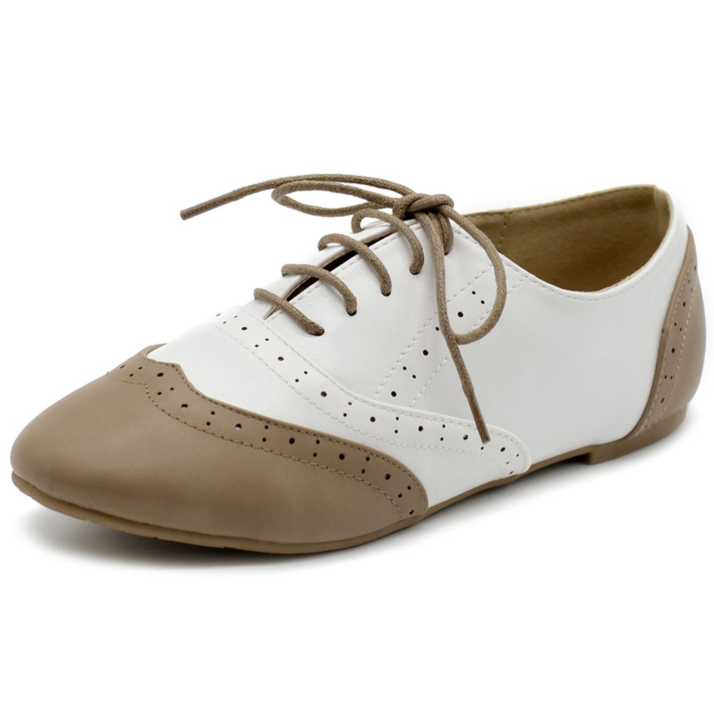 Ollio Women's Shoe Classic Lace Up Dress Low Flat Heel Oxford M1914(7.5 B(M) US, Taupe-White)