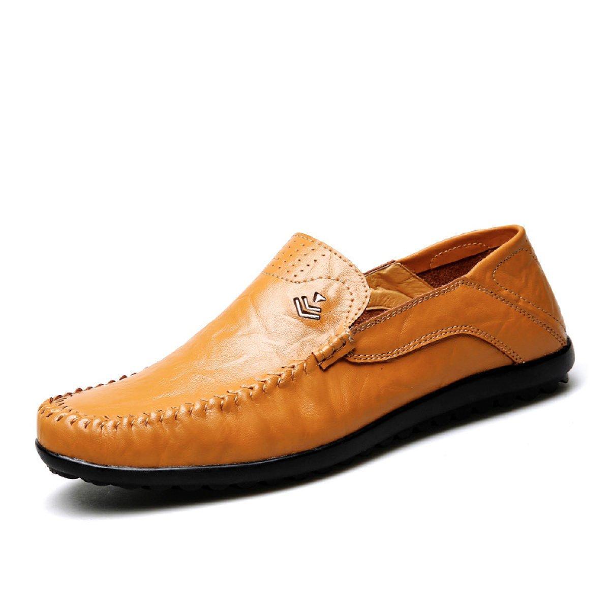 LYZGF Moda Juvenil De Primavera Y Verano Casual Moda Soft Bottom Driving Zapatos De Cuero,Yellow-38 38|Yellow