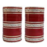 Indian Bollywood Vivah Bridal Maroon White Punjabi Suhag Chura Chuda Bangle Set For Women