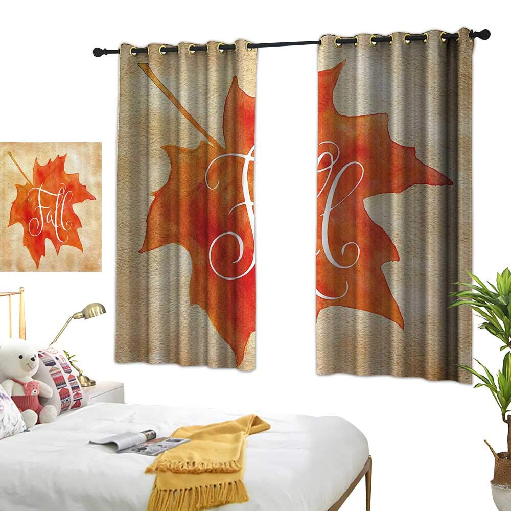 """Warm Family Light Luxury high-end Curtains Fall Decor Vivid Watercolor Maple Leaf Fall Word on Vintage Backdrop Artsy Darkening and Thermal Insulating 55"""" Wx63 L"""