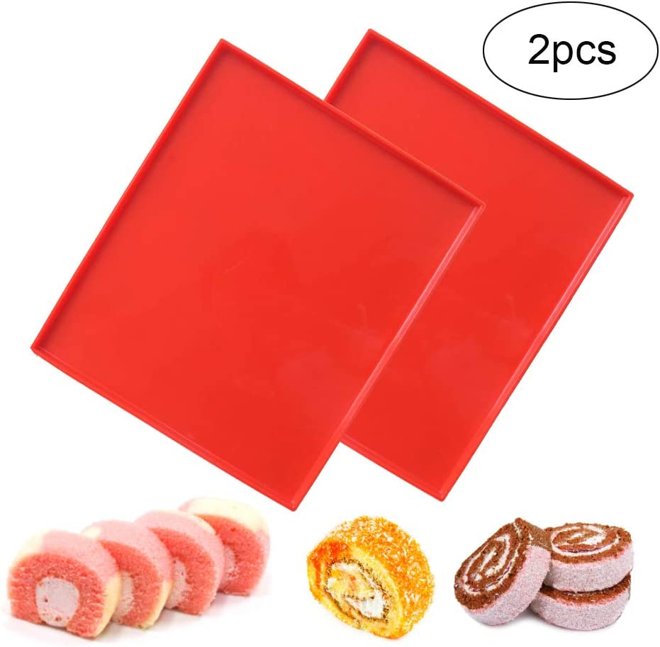 Brianver Swiss Roll Cake Mat - Flexible Multipurpose Silicone sheet Nonstick jelly roll pan Baking Tray Pastry Mat Pizza Cookies Mould(set of 2)