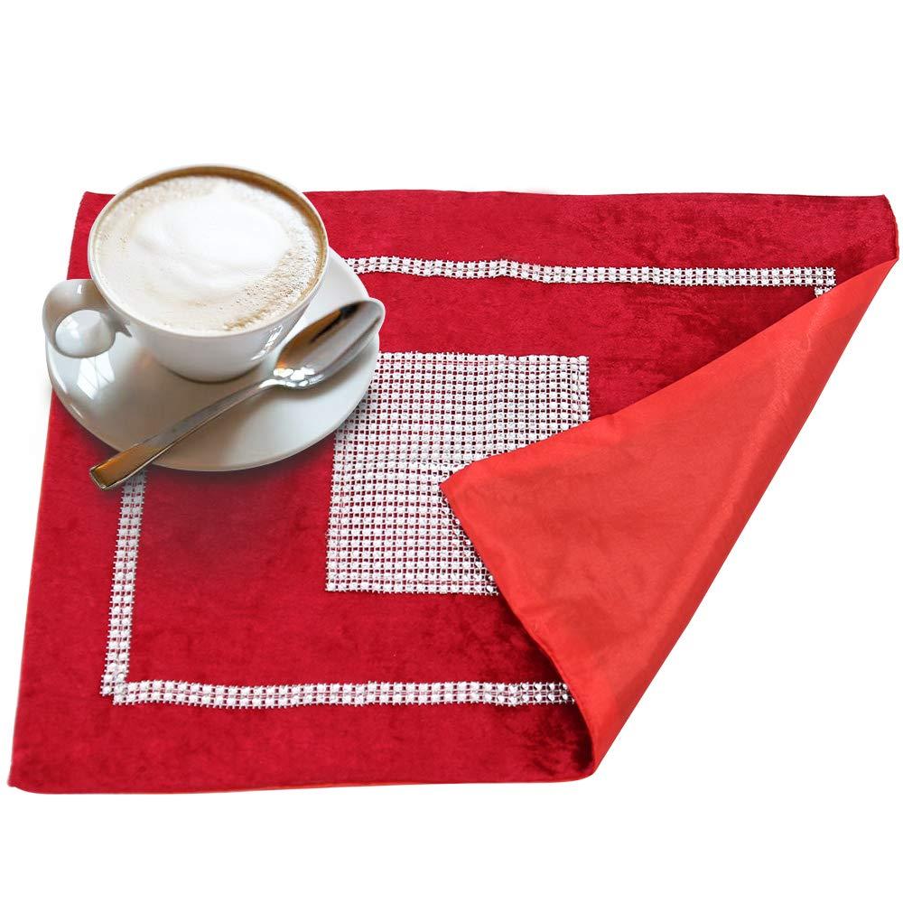 TtS Set of 5 Velvet Table Runner 4*Placemats + 1*Runner, Velvet-black Placemat Table Mats Thick Velvet Satin Tasseled Xmas