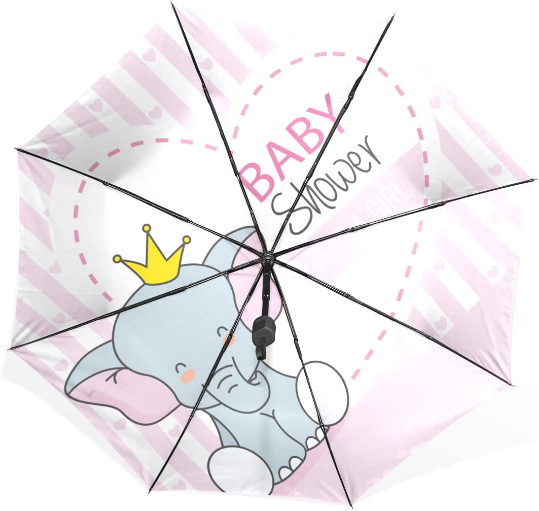 Kids Umbrella Girl Baby Shower Girl Cute Elephant Crown Portable Compact Folding Umbrella Anti Uv Protection Windproof Outdoor Travel Women Girls Umbrellas For Rain