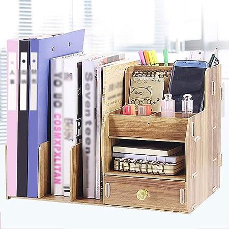 QFFL zhuomianshujia Caja de Almacenamiento de Escritorio Librería de Madera Oficina Oficina Caja de Almacenamiento A4 Carpeta de Datos Tipo de cajón (2 Colores, 2 Estilos) Estanteria de Escritorio: Amazon.es: Hogar
