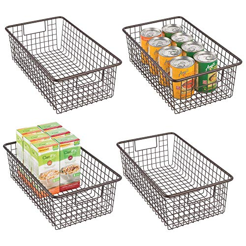 mDesign Modern Farmhouse Metal Wire Storage Organizer Bin Basket with Handles for Kitchen Cabinets, Pantry, Closets, Bedrooms, Bathrooms - 16.25 Long, 4 Pack - Bronze