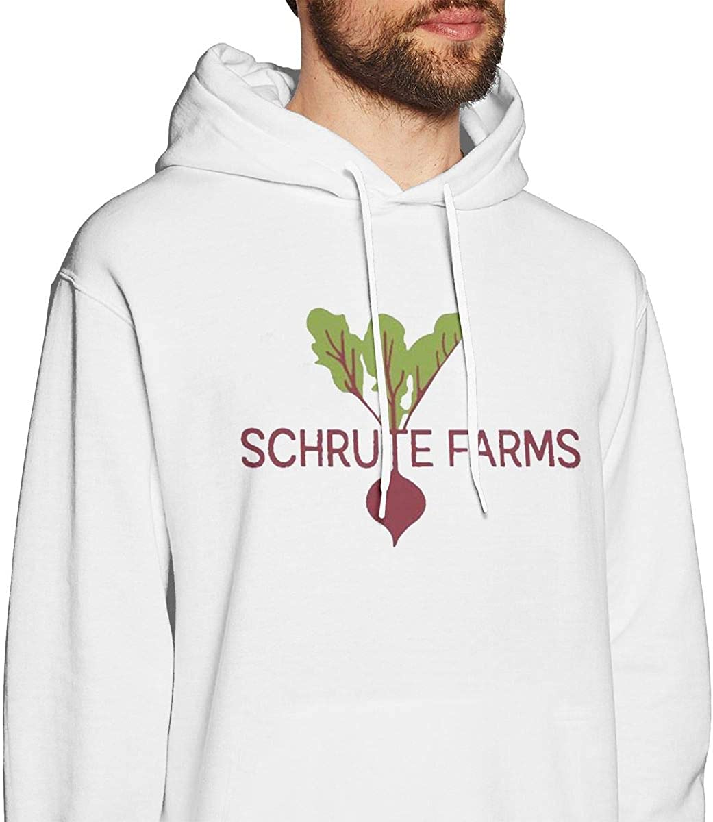 Mens Hooded Sweatshirt Schrute Farms Oversized Classic Print Casual White L