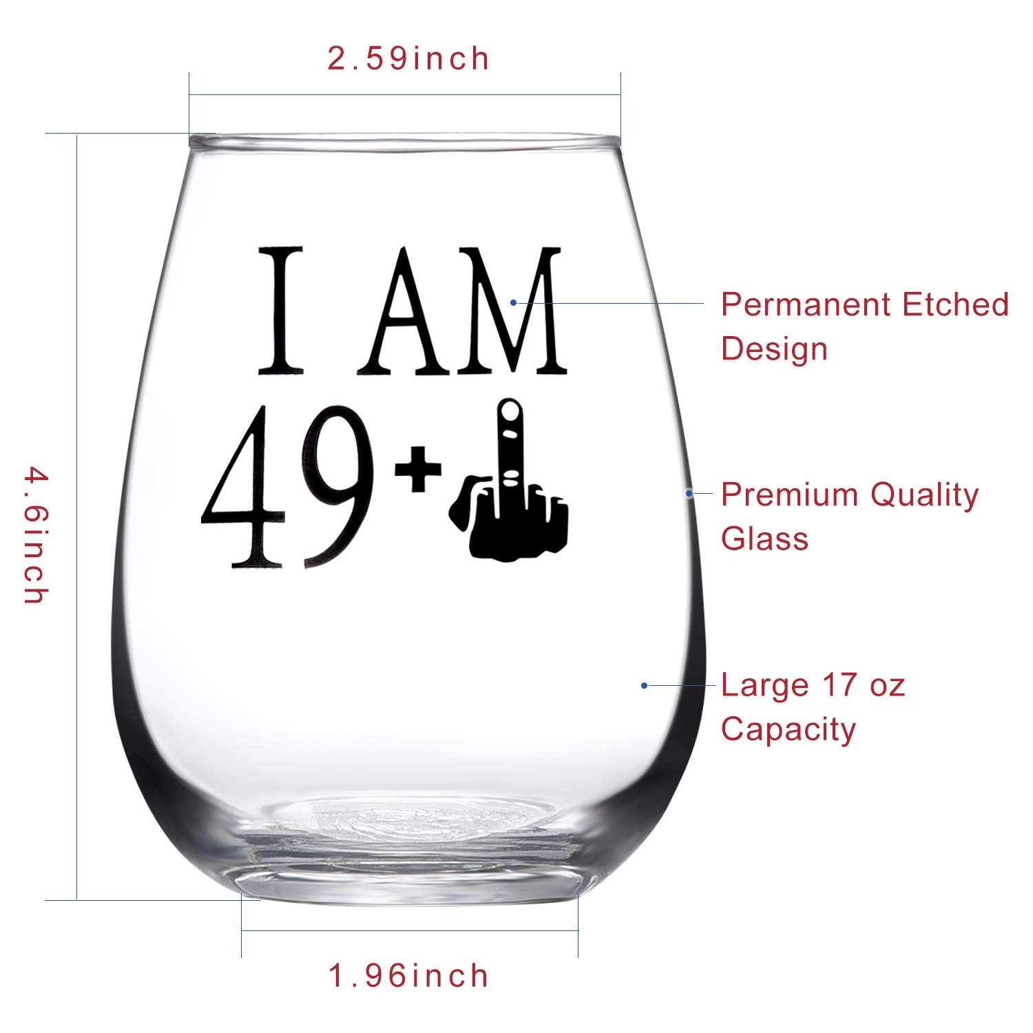 49 + One Middle Finger Stemless Wine Glass 50th Birthday Gift for Men Women Funny Turning 50 Bday Present Drinking Party Decoration, Holiday Gift for Wine Lovers,Black
