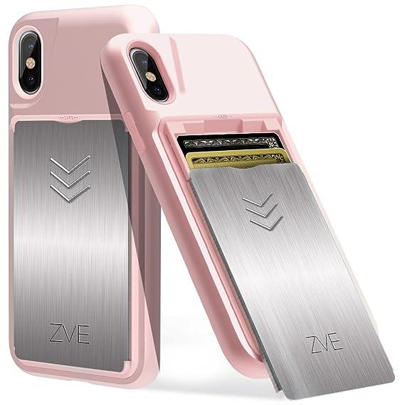 new product 5c69a 88c61 Amazon.com: ZVE iPhone X Wallet Case, Sliding Card Holder Hidden ...
