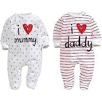 aomomo Unisex Neugeborene Footie I Love Mummy I Love Daddy Body 2Pack