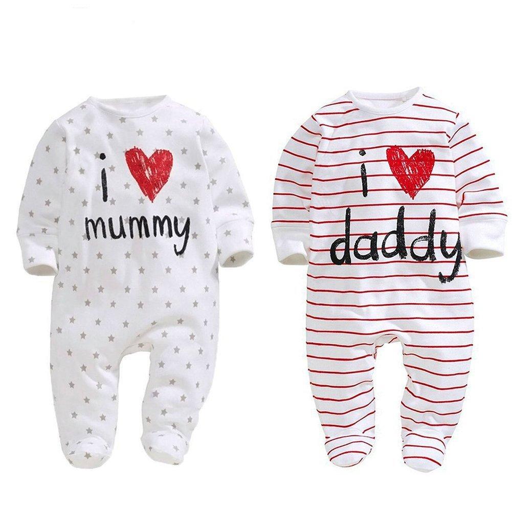 6 Month AOMOMO Unisex-Baby Newborn Footie I Love Mummy I Love Daddy Bodysuit 2 Pack