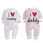 AOMOMO Unisex-Baby Newborn I Love Mummy I Love Daddy Bodysuit 2 Pack (6 Month)