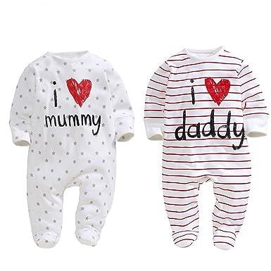 Uniseks Babykleding.Amazon Com Aomomo Unisex Baby Newborn I Love Mummy I Love Daddy