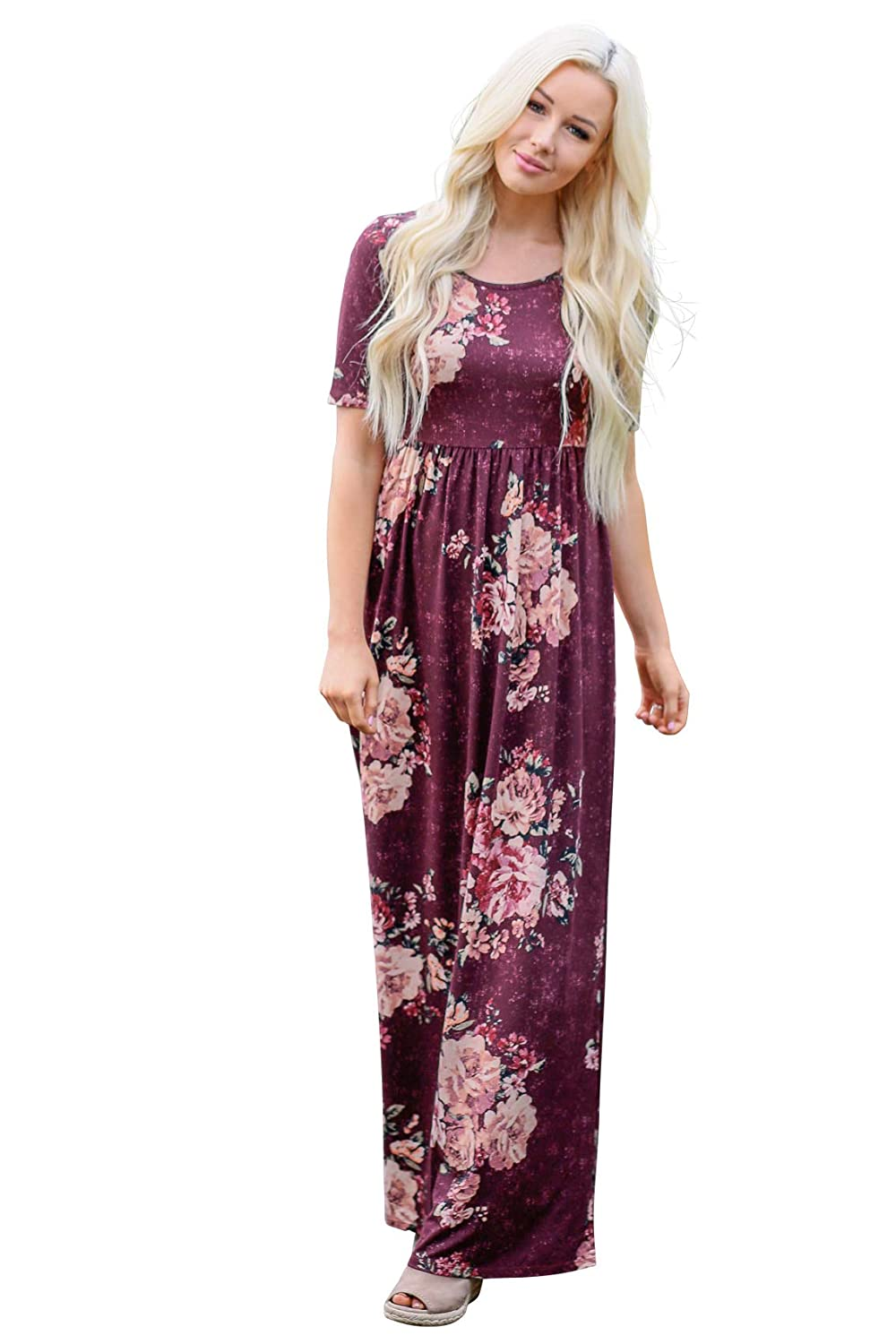1c8dea0751098 Easily the most comfortable dress you've ever worn! Look & feel amazing in  this classic piece! Modest floor-length floral maxi dress with half-sleeves.