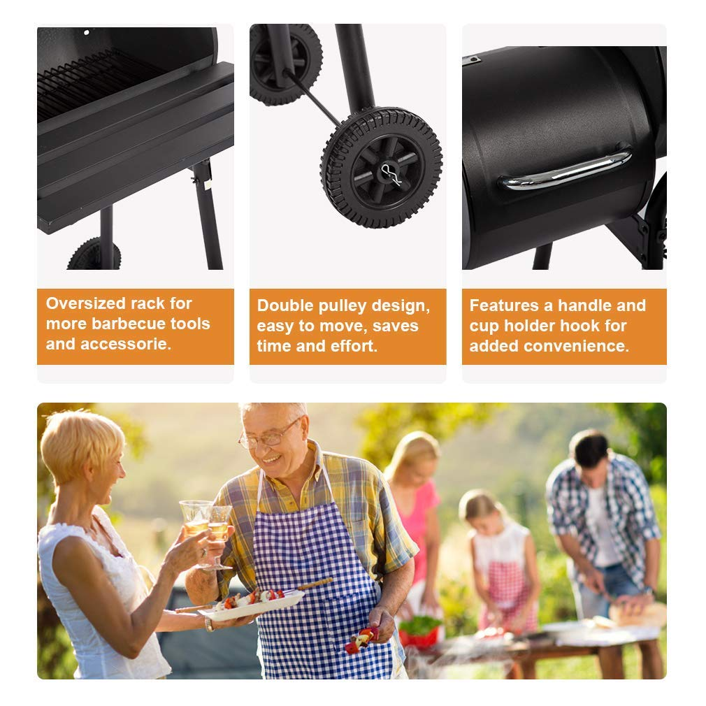 BBQ Grill Charcoal Barbecue Outdoor Pit Patio Backyard Home Meat Cooker Smoker Process Paint Not Flake Black Renewed