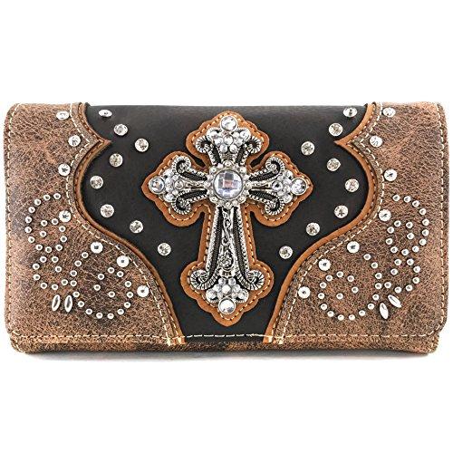 Justin West Floral Studs Laser Cut Western Rhinestone Cross Handbag Purse Conceal Carry (Brown Wallet Only)