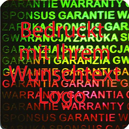 EtikettenWorld BV, EW-H-3100-67-tr-700, 700 Stück Hologrammaufkleber, 2D, 20x20mm grünfarbige Metallfolie, bedruckt in rot mit Ihrem Wunschtext Logo, Hologramm Etiketten, selbstklebend, Hologramm Aufkleber, Sicherheitssiegel, Garantiesiegel, Gar