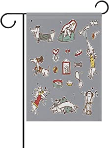 "Starookc Cartoon Dog Cute Bone Garden Flag Banner 12"" X 18"" Inch ?for Anniversary Seasonal Home Outdoor Garden Decor - Double Sided"