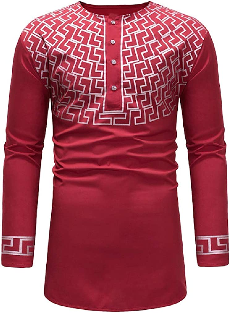 Abetteric Men African Floral Printed Dashiki Relaxed Long Sleeve Shirts Tops