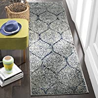 Safavieh Madison Collection MAD604G Navy and Silver Distressed Geometric Ogee Runner (23 x 10)