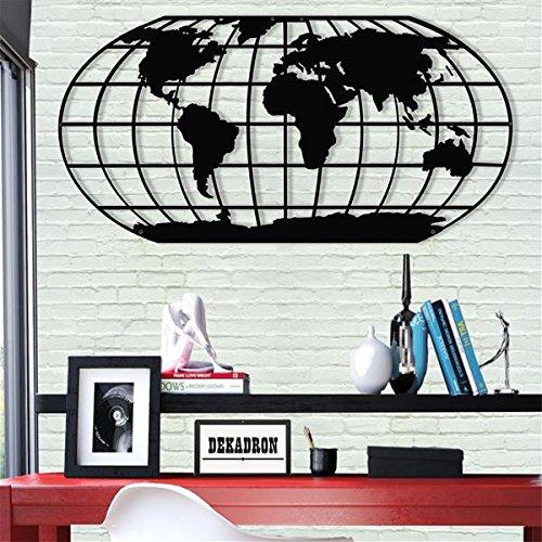 Wanddekoration aus Metall – Weltkarte Meridian – 3D-Wandsilhouette aus Metall für Zuhause, Büro, Dekoration für Schlafzimmer, Wohnzimmer 40Wx20L schwarz