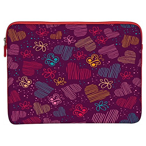 Snoogg Multioclor Hearts And Butterflies Maroon Pattern 17""