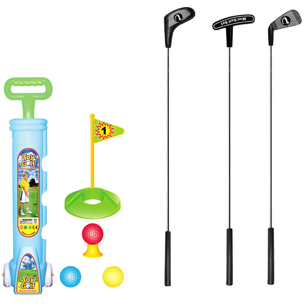 TOPTIK Deluxe Kids Toddler Golf Clubs Set,3 Types of Clubs with Golf Cart, Perfect Golf Set for Children