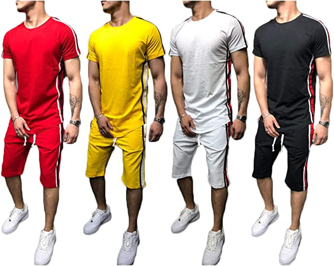 Men Summer Sport T Shirt Tee Top Shorts Pants Tracksuits Set Suits O Neck
