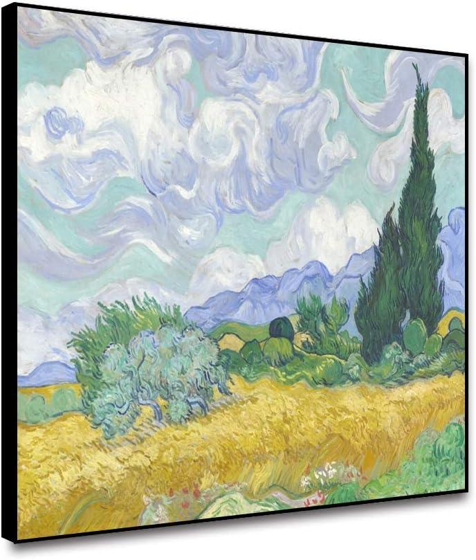 Vintage painting art claude monet artwork wheat field poster canvas framed