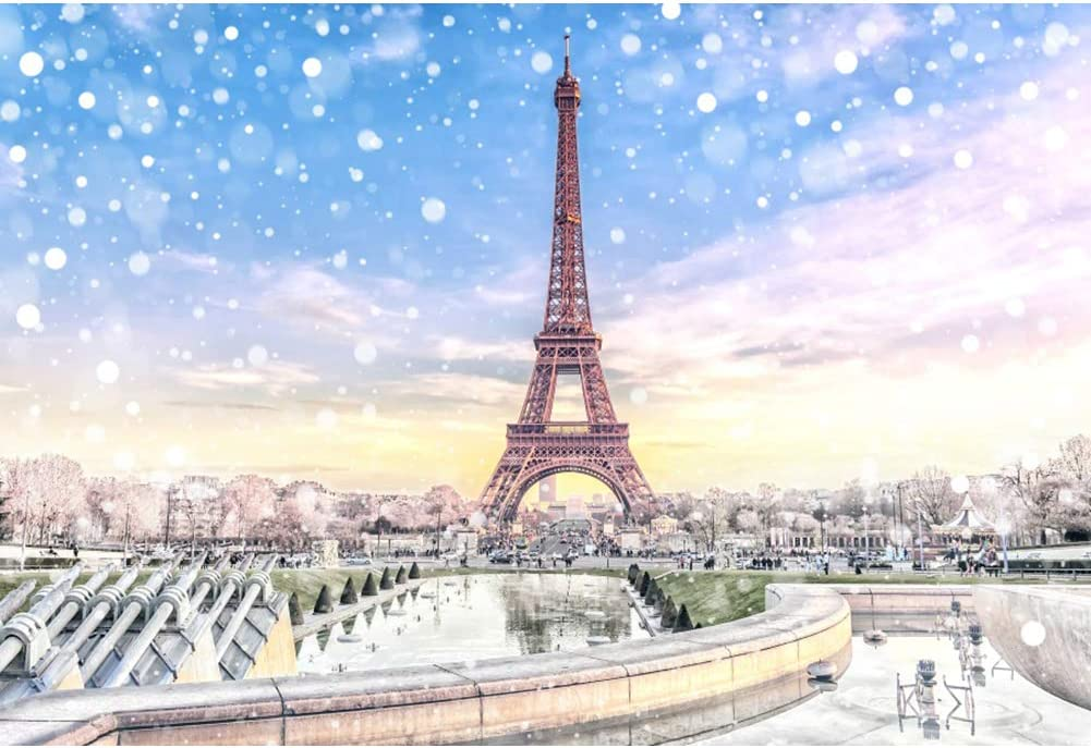 Yeele Christmas Photos Backdrop 10x8ft Eiffel Tower in Paris Photography Background Selfie Portrait and Holiday Picture New Year Xmas Photo Booth Kids Adults Portrait Photoshoot Props Wallpaper