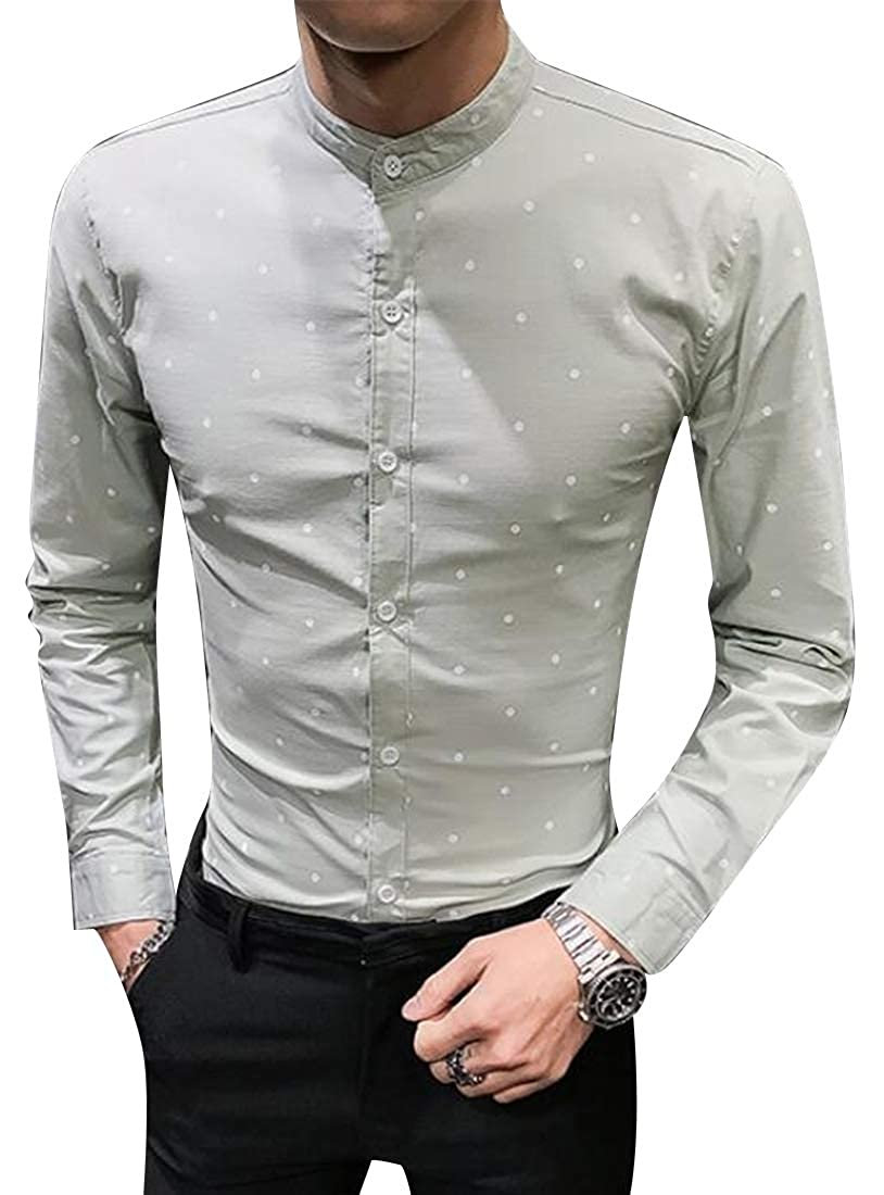 KLJR Men Stand Collar Polka Dot Print Formal Long Sleeve Slim Fit Button Down Blouse Shirt Tops