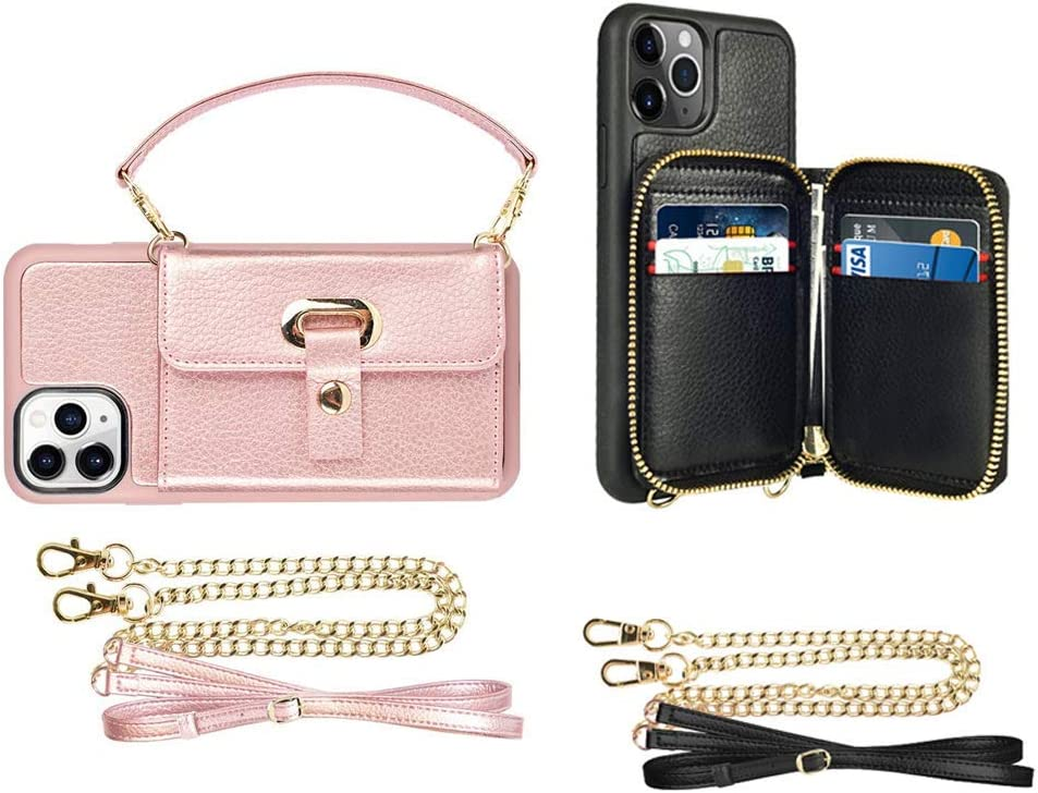 LAMEEKU Black Zipper Wallet Case and Rose Gold Crossbody Card Holder Case Bundle for iPhone 11 Pro Max